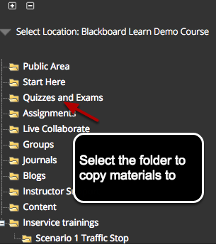 Image of the Select Location screen that lists the destination course and provides a list of folders to copy materials into, with instructions to select the folder to copy materials to.