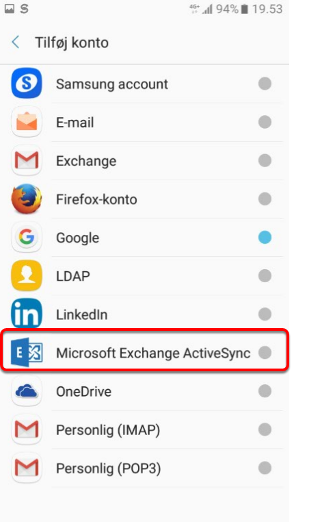 "6. Vælg: ""Microsoft ExchangeActive sync"""