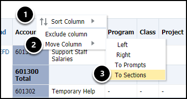 move column to sections