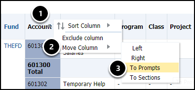 move column to prompts