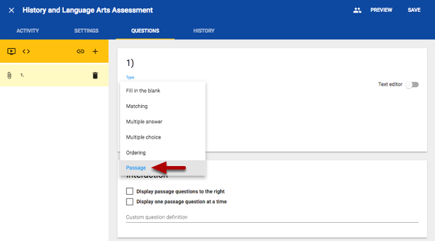 How do I set up a passage question type? – Echo Help Desk