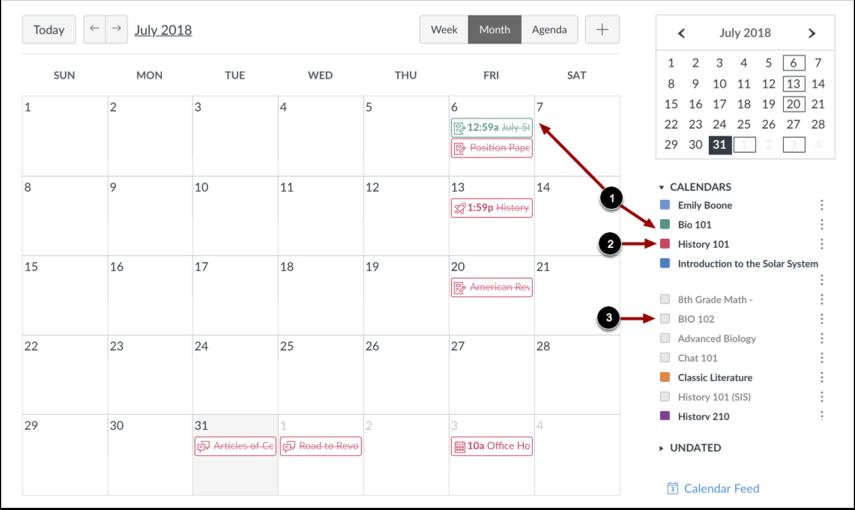 Visualizar Lista de Calendário