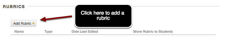 Image of the Rubrics section with an arrow pointing to the Add Rubric button with instructions to click here to add a rubric.