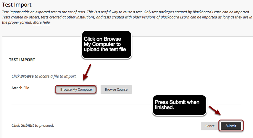 Image of the Test Import Screen with the Browse My Computer button outlined with a red circle under Test Import, with instructions to click on Browse My Computer to import a test file, and the Submit button at the bottom of the page outlined with a red circle, with instructions to click Submit when finished.