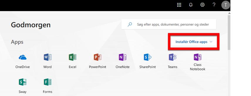 Nu er du logget ind på Office 365 online