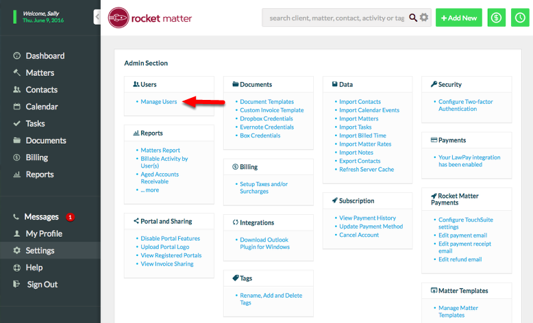 1. Navigate to Settings, and click on Manage Users.