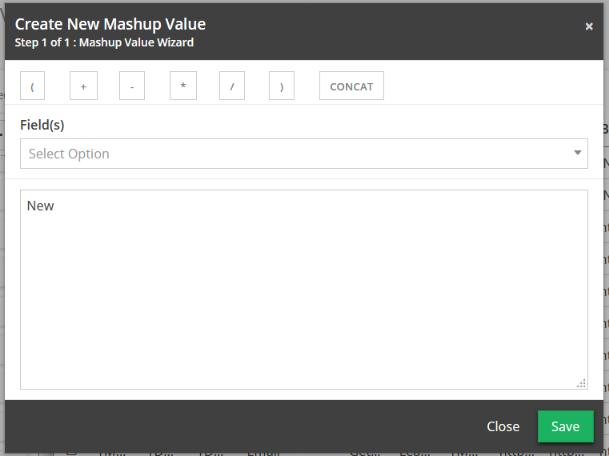 Create New Mashup Value