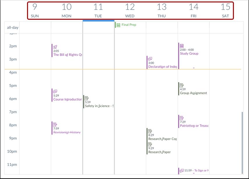 Ver calendario semanal