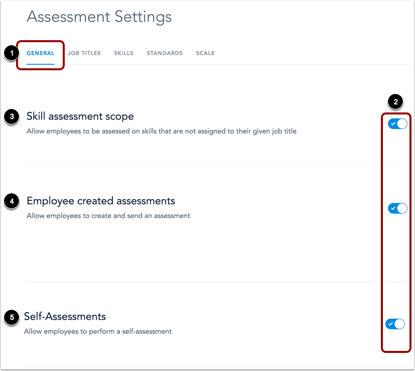 View Assessment Settings Page