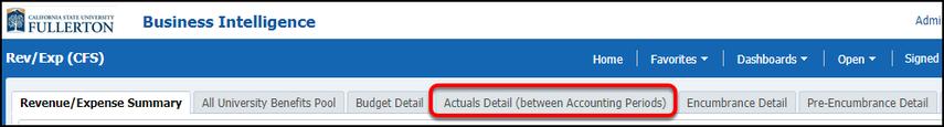 Actuals Detail select