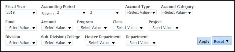 Revenue Expense Summary Filters