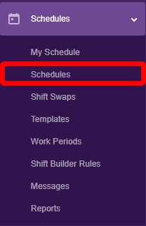 """Go to the """"Schedules"""" page."""