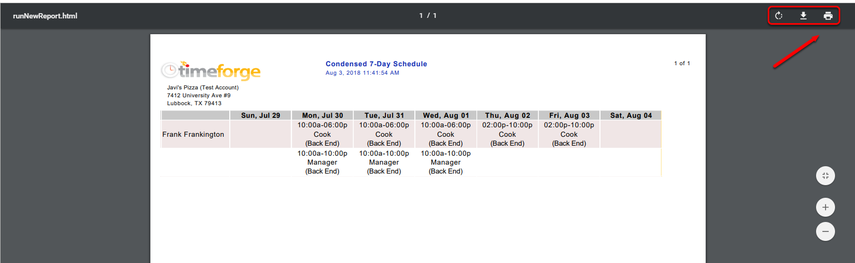 View and print your schedule report.