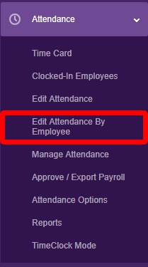 "Navigate to the ""Edit Attendance by Employee"" page."