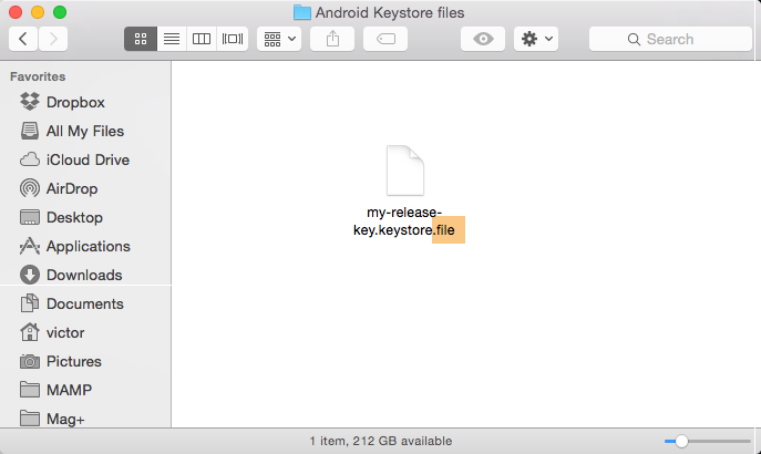 "Find the ""my-release-key.keystore"" file in your folder and append the extension "".file"" to it."