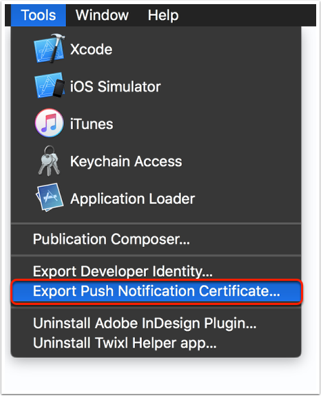 Export your iOS Push Certificate