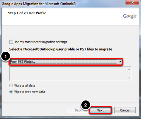 "Select ""From PST File(s).."""