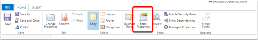 Click Form Properties in the Home Ribbon