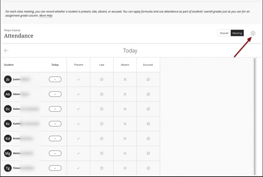 Image of the Blackboard Attendance Tool