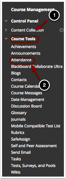 Accessing the Attendance tool: 1.Within your Blackboard course, navigate to the Course Management area, and click on Course Tools.2.With the Course Tools section expanded, click the link labeled Attendance