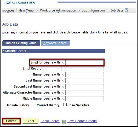 Search Criteria page