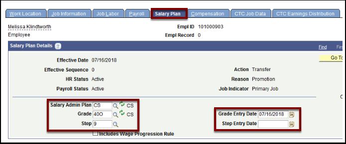 Salary Plan tab