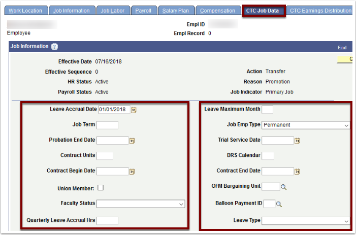 CTC Job Data tab