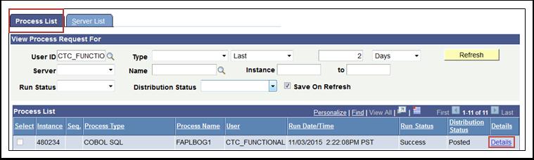 Process List - Details Link