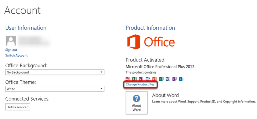 microsoft office 2013 change product key