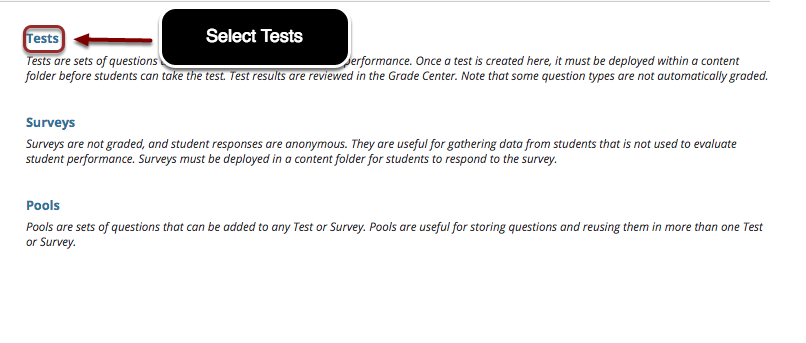 Image of the Tests, Surveys and Pools menu with the option Tests outlined with a red circle with instructions to click on Tests.