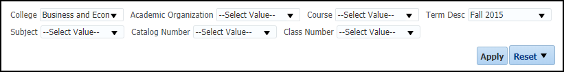 Course Grade Distribution Report Filters