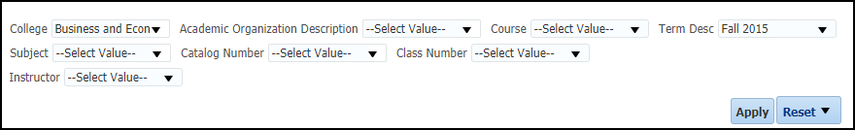 Faculty Grade Distribution Report Filters
