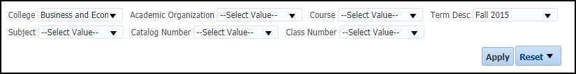 Sections with GPA <= 2.0 Report Filters