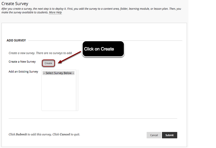 Image of the Create Survey screen with the Create button next to Create a New Survey highighted with a red circle with instructions to click on Create