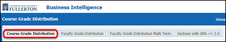 Course Grade Distribution select