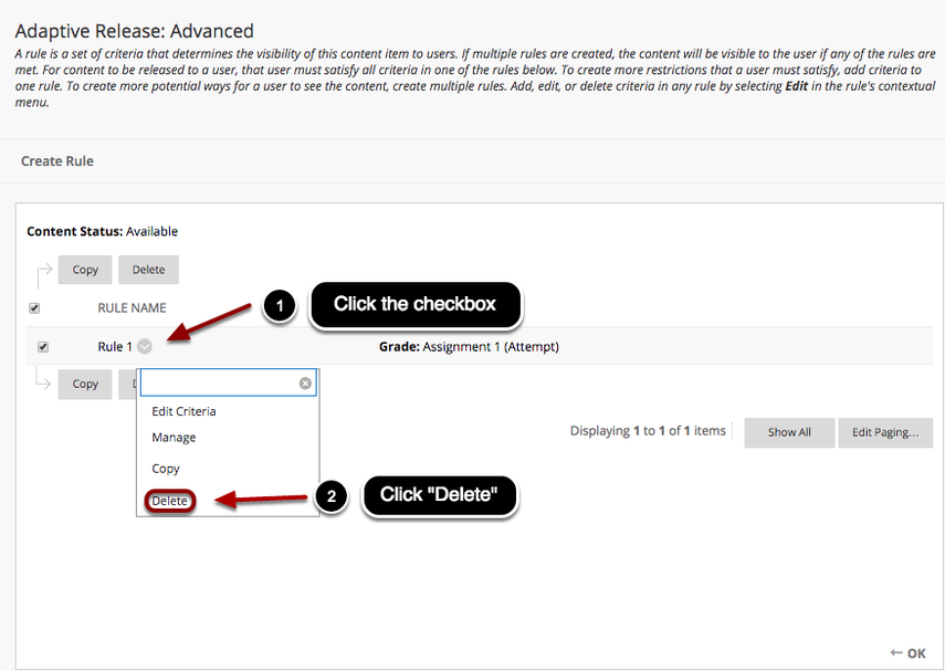 Image of the Adaptive Release Rule listing with the following annotations: 1.Select the checkbox next to the rule you wish to remove.2.Press the Delete button.