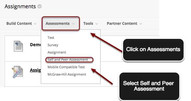 image of a content area with an arrow pointing to Assessments outlined in a red circle with instructions to click on Assessments.  A menu is shown on screen with Self and Peer Assessment outlined in a red circle with instructions to select Self and Peer Assessment.