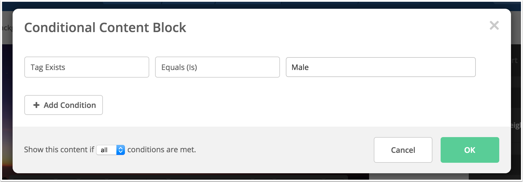 Conditional Content Activecampaign Help Center Select Create Diagram Add Block Definition Then A Blank Display The Selected For Instance You Could Specify That If Contacts Gender Is Male It An Image Of Mens Product