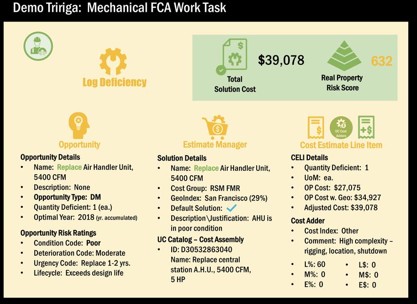 demo tririga mechanical fca work task log deficiency fca program