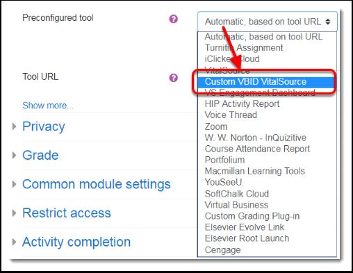 Custom VBID VitalSource is selected.