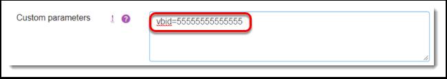 Custom parameters field is selected.