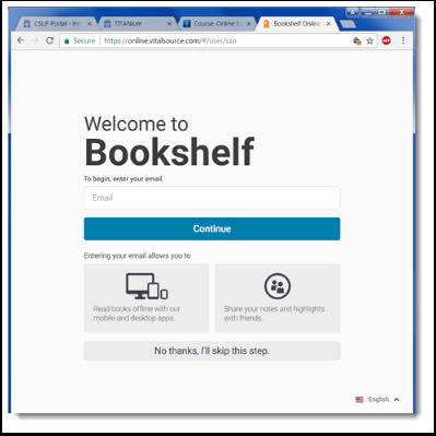Bookshelf welcome page