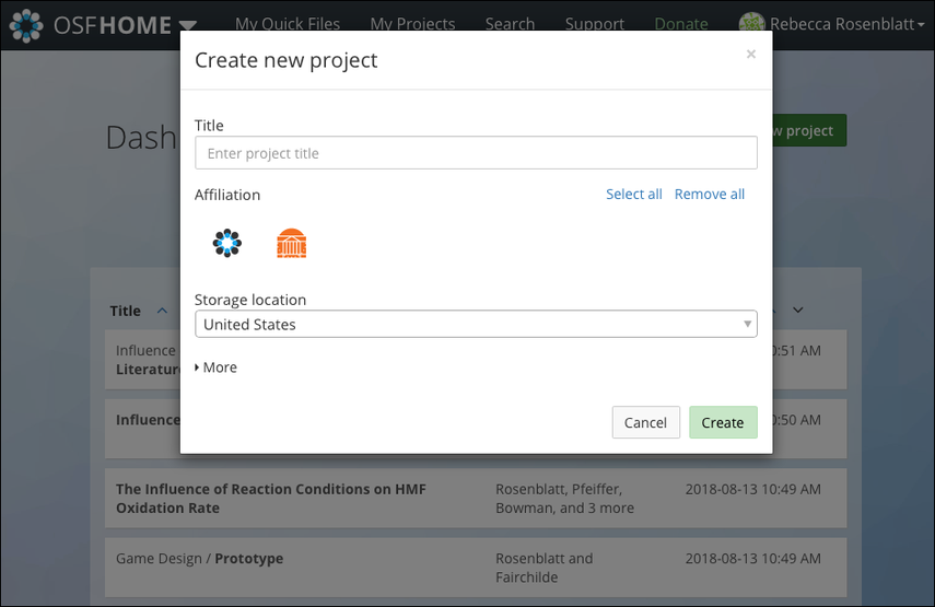"The ""Create new project"" Modal"