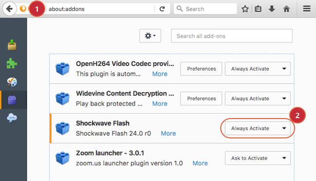 Enabling Flash for Mozilla Firefox (Windows/Macintosh