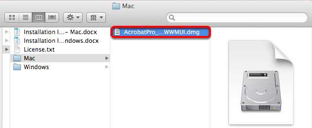 Open the AcrobatPro_11_Web_WWMUI.dmg file