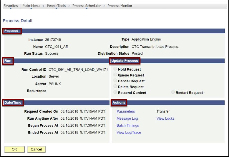 Process Detail page