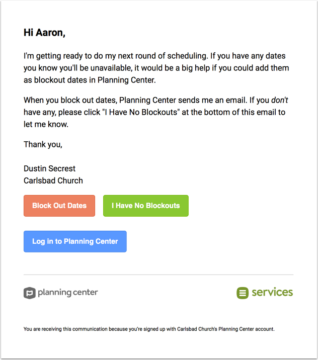 blockout dates email