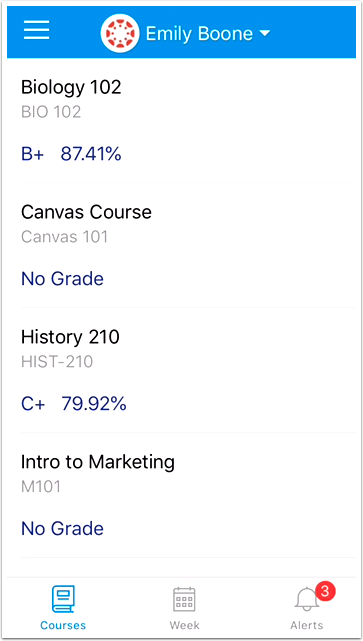 View Student Courses and Grades
