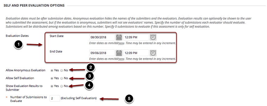 Setting up the Evaluation Period
