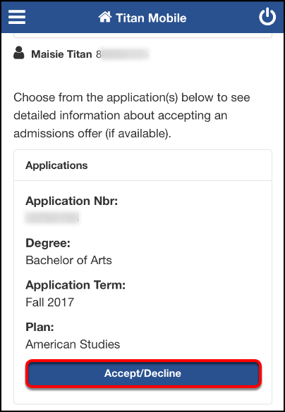 Accept Admission screen